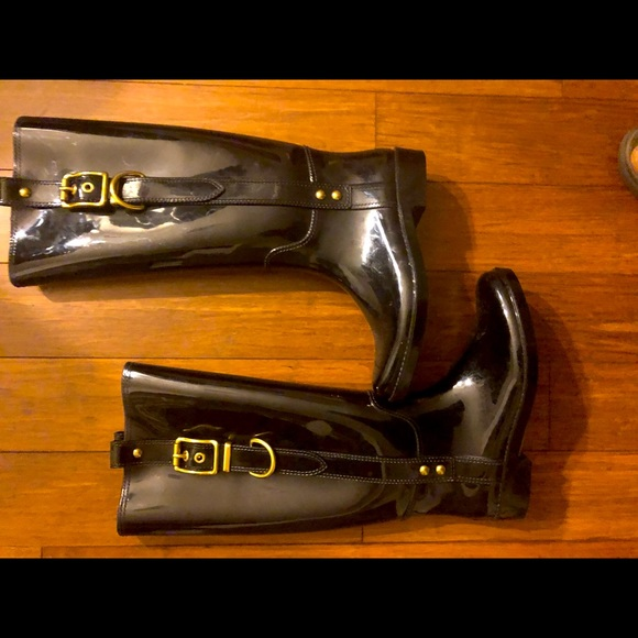 Coach Rainboots Size 6, 15.5 inches high